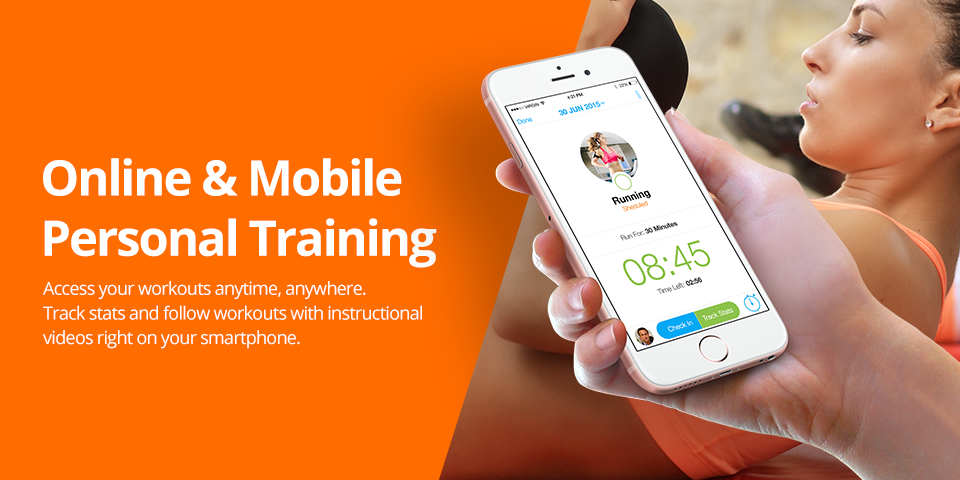 Online mobile personal training app poster