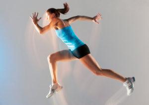 female athlete running faster