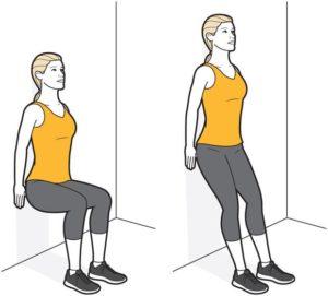 Wall squat for pelvic floor